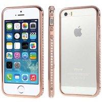 Бампер металлический для iPhone 5s / SE / 5 красное золото со стразами - Red Gold Diamond Bumper iPhone 5s / SE / 5