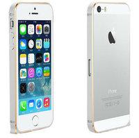 Металлический бампер Fashion Silver&Gold для iPhone 5s / SE / 5 серебряный с золотой гранью