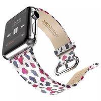 Белый ремешок с узором Hoco для Apple Watch 42mm цветной леопард - Hoco Super Star Series Figure Watchband White