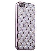 Объемный силиконовый чехол для iPhone 5s / SE / 5 прозрачный с серебристыми ромбами