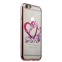 Тонкий силиконовый чехол с ободком розовое золото для iPhone 6s/ 6 сердце со стразами
