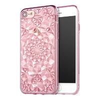 Розовый прозрачный силиконовый 3D чехол для iPhone 7 бриллиант - 3D Diamond Pink Transparent Case