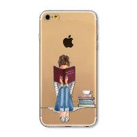 Прозрачный силиконовый чехол для iPhone 7 - Transparent Silicone Case с рисунком Девушка с книгой