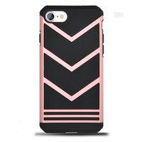 Защитный противоударный чехол для iPhone 7 черный вставка розовое золото пластик-силикон