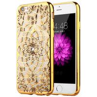 Силиконовый чехол для iPhone 7 со стразами и золотой ободок