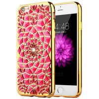 Красный силиконовый чехол для iPhone 7 / 7s со стразами и золотым ободком