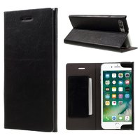Черный кожаный чехол книжка подставка для iPhone 7 Plus - JOYROOM с отсеком для хранения карт