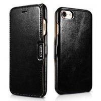 Черный винтажный чехол книжка для iPhone 7 с магнитной защелкой - i-Carer Vintage Series Side-open Magnetic Case Black