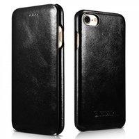 Черный винтажный кожаный чехол книга для iPhone 7 / 7s - i-Carer Curved Edge Vintage Series Genuine Leather Case Black