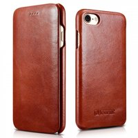 Коричневый кожаный винтажный чехол книжка для iPhone 7 / 7s - i-Carer Curved Edge Vintage Series Genuine Leather Case Brown