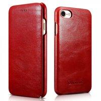 Красный винтажный кожаный чехол книжка для iPhone 7 / 7s - i-Carer Curved Edge Vintage Series Genuine Leather Case Red