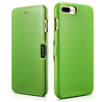 Кожаный чехол книга для iPhone 7 Plus зеленый c магнитной защелкой - i-Carer Luxury Series Magnetic Side-open Green