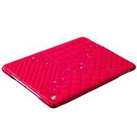 Розовый кожаный чехол для iPad 2017 со стразами - Jisoncase Genuine Leather Diamond Pink