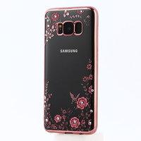 Прозрачный силиконовый чехол для Samsung Galaxy S8 Plus (S8+) с рамкой розовое золото и стразами - рисунок цветы