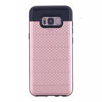 Противоударный защитный чехол для Samsung Galaxy S8 Plus розовое золото с отделением для карточек